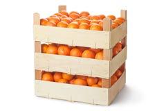Três caixas de varejo de tangerinas maduras fotos de stock royalty free