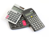 Três calculadoras Foto de Stock