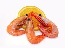 Três camarões e limões Fotos de Stock Royalty Free