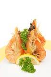 Três camarões em uma placa Imagem de Stock Royalty Free
