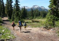 Três caminhantes no vale de Callaghan fotografia de stock royalty free