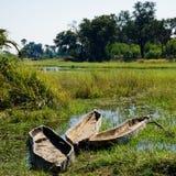 Três canoas de esconderijo subterrâneo do makoro, delta de Okavango, Botswana fotografia de stock royalty free