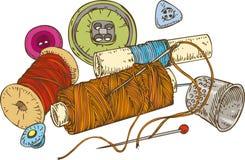 Três carretéis da linha, botões da cor, dedal e ilustração do vetor