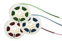 Três carretéis de fita do filme Imagem de Stock