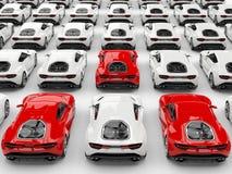 Três carros de esportes vermelhos estão para fora entre muitos carros brancos ilustração royalty free