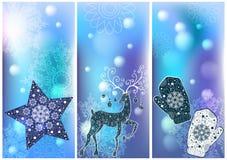 Três cartões de Natal Fotos de Stock Royalty Free