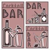 Três cartões do cocktail Projeto liso Fotografia de Stock