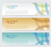 Três cartões do convite com linhas no fundo Fotos de Stock