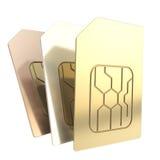 Três cartões do telefone SIM com os microchip do circuito isolados Imagem de Stock Royalty Free