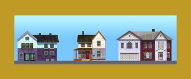 Três casas Ilustração Stock