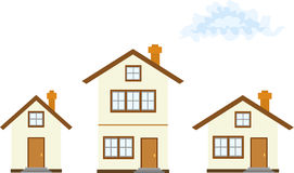 Três casas Imagem de Stock