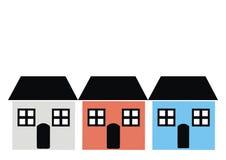 Três casas com janela, porta, e telhado, várias cores, ícone do vetor Fotos de Stock