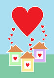 Três casas completamente do amor Fotografia de Stock Royalty Free