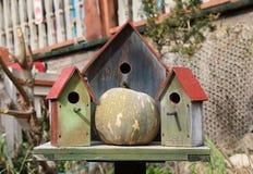Três casas de madeira do pássaro imagens de stock royalty free