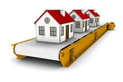 Três casas estão movendo sobre a correia transportadora ilustração do vetor