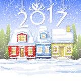 Três casas pequenas no campo do inverno ano novo feliz do cartão do inverno Paisagem do inverno Foto de Stock