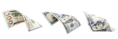 três cem dólares isolados no fundo branco Novo cem dólares imagem de stock