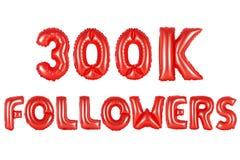 Três cem mil seguidores, cor vermelha foto de stock royalty free