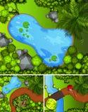 Três cenas do parque com lagoas e árvores ilustração do vetor