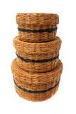 Três cestas de vime fotos de stock