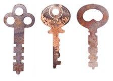 Três chaves de esqueleto oxidadas Fotografia de Stock