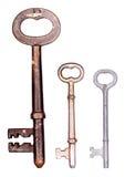 Três chaves de esqueleto velhas Fotos de Stock Royalty Free