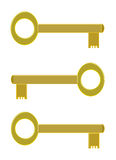 Três chaves douradas Fotografia de Stock Royalty Free