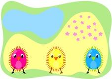 Três chiks em um cartão do campo Ilustração Royalty Free
