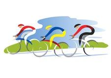 Três ciclistas na estrada ilustração do vetor