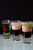 Três cocktail mergulharam tiros Fotografia de Stock Royalty Free