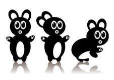 Três coelhos pretos Fotografia de Stock Royalty Free