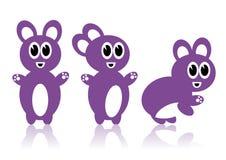Três coelhos roxos ilustração do vetor