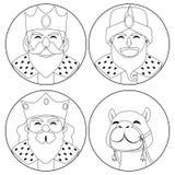 Três colorações dos reis e do camelo Fotos de Stock Royalty Free