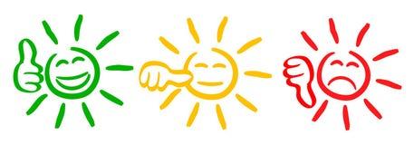 Três coloriram o sol com polegares da avaliação, smilies, ajustaram a emoção do smiley, por smilies, sol dos emoticons dos desenh ilustração do vetor