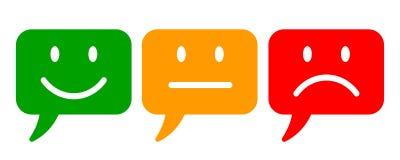 Três coloriram smilies, ajustaram a emoção do smiley, por smilies, ícone dos emoticons dos desenhos animados - para o estoque ilustração stock
