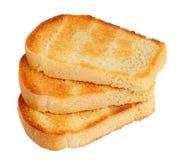 Três com os brindes da fatia do pão isolados Imagem de Stock Royalty Free