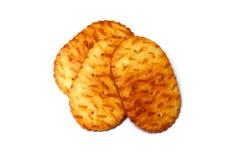 Três cookies ovais sobre o branco Fotografia de Stock