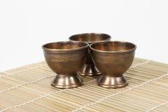 Três copos de aço envelhecidos Foto de Stock Royalty Free
