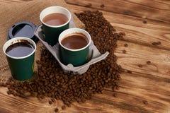 Três copos de café do cartão Fotos de Stock Royalty Free