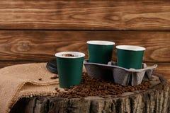 Três copos de café do cartão Imagens de Stock Royalty Free