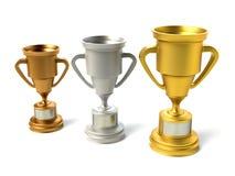 Três copos do troféu Foto de Stock Royalty Free