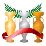 Três copos - dourados, de prata, bronze - com ilustração vermelha da fita Imagem de Stock Royalty Free