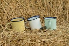 Três copos em algumas palhas fotografia de stock