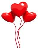 Três coração-balões vermelhos Imagens de Stock
