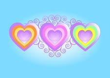 Três corações Imagens de Stock Royalty Free