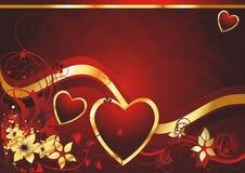 Três corações com borboletas ilustração do vetor