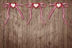 Três corações com laço Fotos de Stock Royalty Free