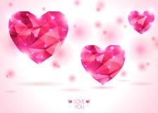 Três corações cor-de-rosa no contexto branco com sombra Fotos de Stock Royalty Free