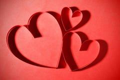 Três corações de papel Fotografia de Stock