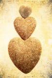 Três corações de pedra Fotografia de Stock